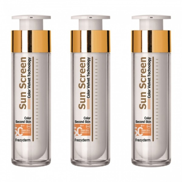 Frezyderm 3 Τεμάχια Sun Screen Velvet Color Face spf50+ 50ml
